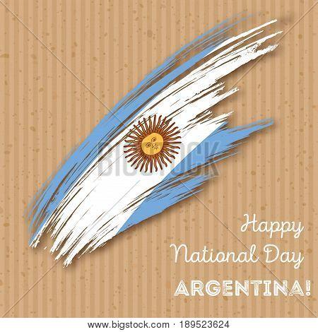 Argentina Independence Day Patriotic Design. Expressive Brush Stroke In National Flag Colors On Kraf