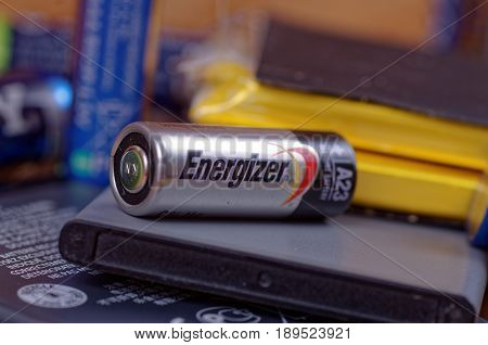 SARANSK, RUSSIA - MAY 28, 2017: Energizer A23 battery close-up.