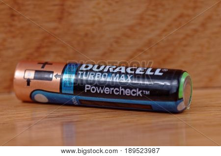 SARANSK, RUSSIA - MAY 28, 2017: AAA Duracell Turbo Max battery.