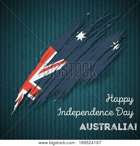 Australia Independence Day Patriotic Design. Expressive Brush Stroke In National Flag Colors On Dark