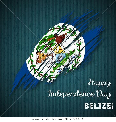 Belize Independence Day Patriotic Design. Expressive Brush Stroke In National Flag Colors On Dark St