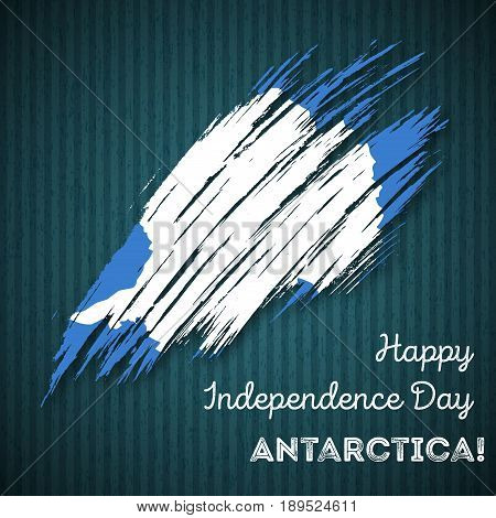Antarctica Independence Day Patriotic Design. Expressive Brush Stroke In National Flag Colors On Dar