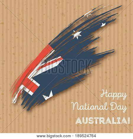Australia Independence Day Patriotic Design. Expressive Brush Stroke In National Flag Colors On Kraf