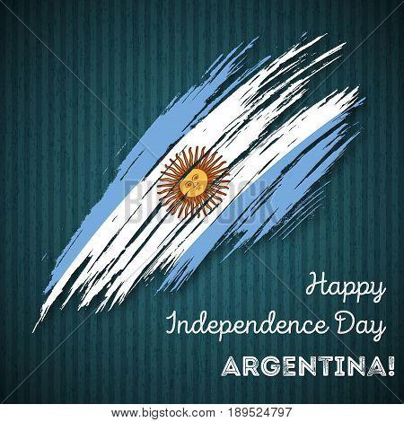 Argentina Independence Day Patriotic Design. Expressive Brush Stroke In National Flag Colors On Dark