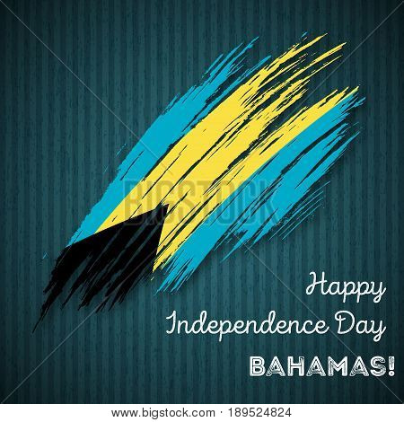 Bahamas Independence Day Patriotic Design. Expressive Brush Stroke In National Flag Colors On Dark S