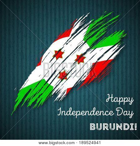 Burundi Independence Day Patriotic Design. Expressive Brush Stroke In National Flag Colors On Dark S