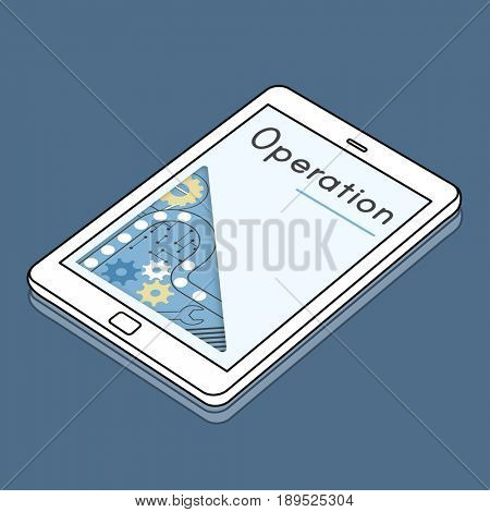 Graphic design with digital device tablet icon and operation word