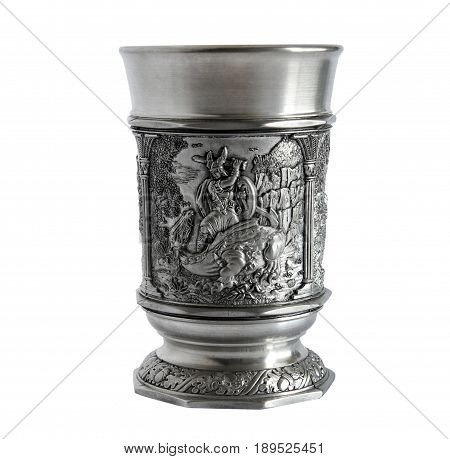 Pewter wine goblet with relief The Song of the Nibelungs isolated on a white background
