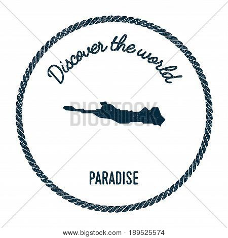 Paradise Island Map In Vintage Discover The World Insignia. Hipster Style Nautical Postage Stamp, Wi