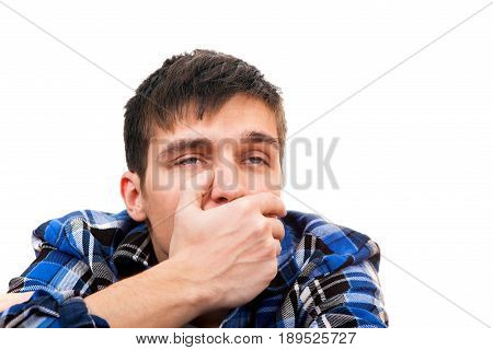 Sad Young Man feel Toothache Isolated on the White Background