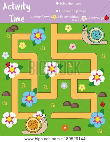 Activity page for kids. Educational game. Maze and counting game. Help snails meet. Fun for preschool years children. Fun for preschool years children. Learning mathematics