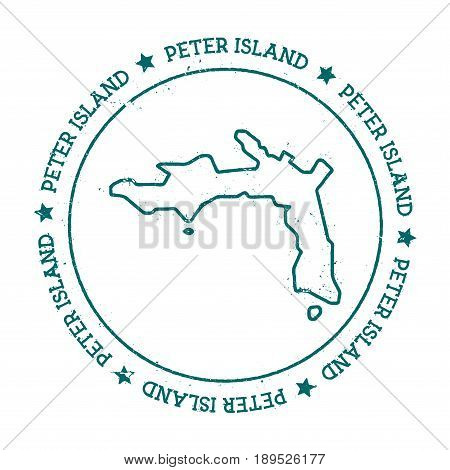 Peter Island Vector Map. Distressed Travel Stamp With Text Wrapped Around A Circle And Stars. Island