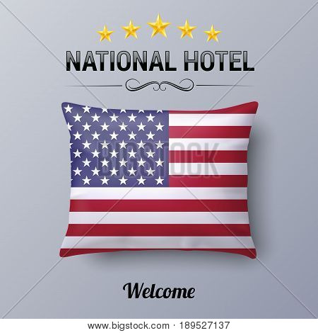 Realistic Pillow and Flag of USA as Symbol National Hotel. Flag Pillow Cover with American flag