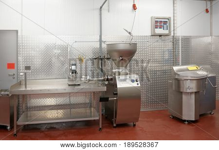 Sausage stuffing machine not in operation on food processing plant