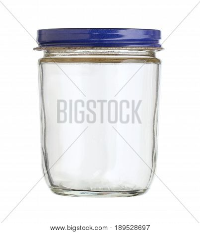 Glass jar with metal cap isolated on white background