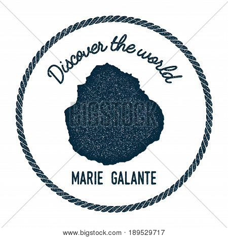 Marie-galante Map In Vintage Discover The World Insignia. Hipster Style Nautical Postage Stamp, With