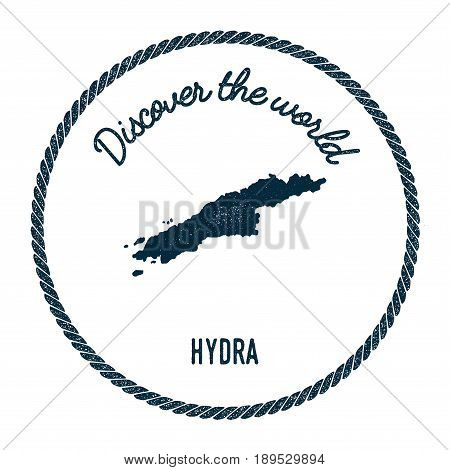 Hydra Map In Vintage Discover The World Insignia. Hipster Style Nautical Postage Stamp, With Round R