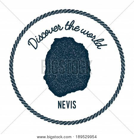 Nevis Map In Vintage Discover The World Insignia. Hipster Style Nautical Postage Stamp, With Round R