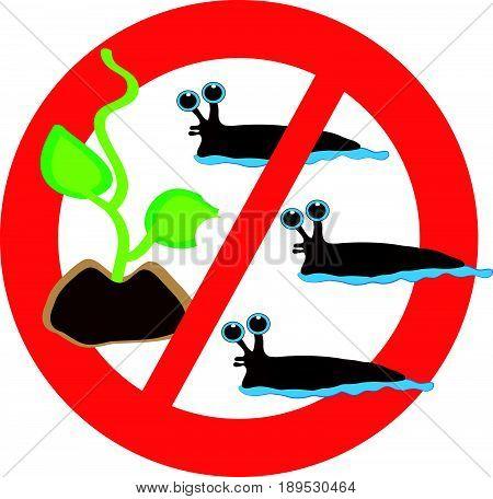 No slugs symbol isolated on white background. vector illustration.