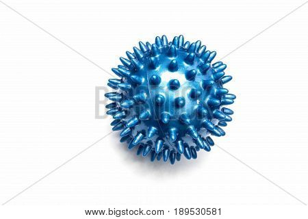 Close up of blue ball spiky for therapy isolated on white background