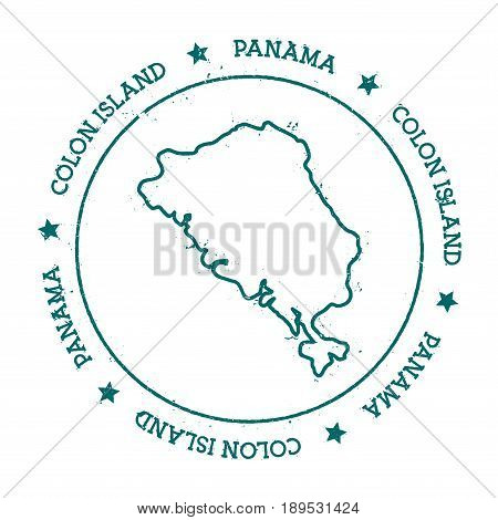Colon Island Vector Map. Distressed Travel Stamp With Text Wrapped Around A Circle And Stars. Island