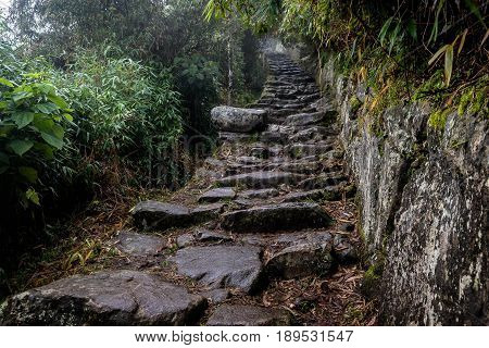 Path to Inca bridge Urubamba Machu Picchu Peru