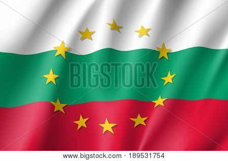 Bulgaria national flag with a circle of European Union twelve gold stars, symbol of unity with EU, member since 1 January 2007. Realistic vector style illustration