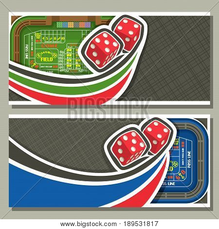 Vector horizontal banners for Craps gamble: thrown pair red cube dices flying on green craps table, 2 layouts with frame on abstract grey background for text on gambling game theme, flyers for casino.