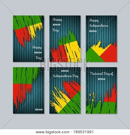 Benin Patriotic Cards For National Day. Expressive Brush Stroke In National Flag Colors On Dark Stri