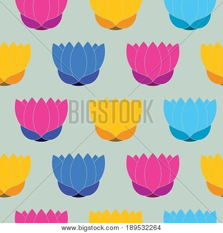 Seamless texture of lotus flower lotus painted in blue purple yellow red on gray background background for printing on fabric, fully editable vector images