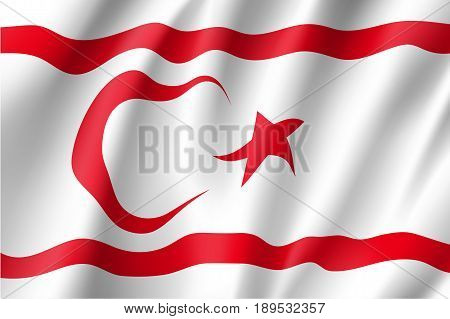 Waving flag of Turkish Republic of Northern Cyprus. Patriotic national sign. Official symbol of state northeastern portion of the island of Cyprus. Vector icon illustration