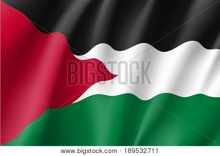 Waving flag of Palestine - partially recognised state. Patriotic palestinian national sign. Symbol of de jure sovereign state in the Middle East. Vector icon illustration