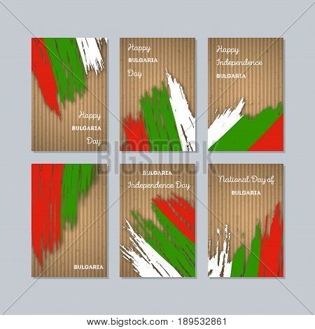 Bulgaria Patriotic Cards For National Day. Expressive Brush Stroke In National Flag Colors On Kraft