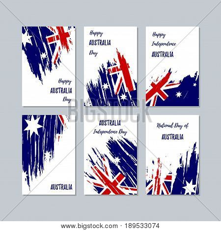 Australia Patriotic Cards For National Day. Expressive Brush Stroke In National Flag Colors On White