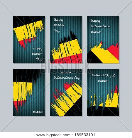 Belgium Patriotic Cards For National Day. Expressive Brush Stroke In National Flag Colors On Dark St