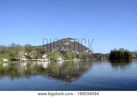Landscape on Sillingy lake in Savoy France