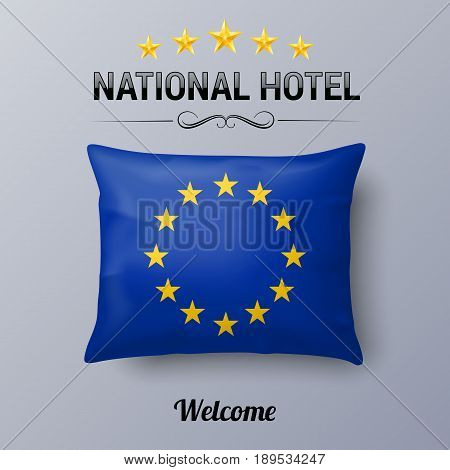 Realistic Pillow and Flag of European Union as Symbol National Hotel. Flag Pillow Cover with EU flag