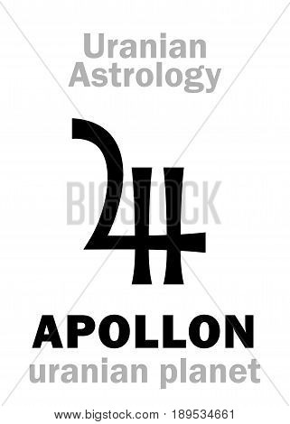 Astrology Alphabet: APOLLON, Uranian planet (trans-neptunian point). Hieroglyphics character sign (single symbol).