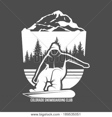 Snowboarding logo template. Retro design of monochrome badge. Winter sports collection