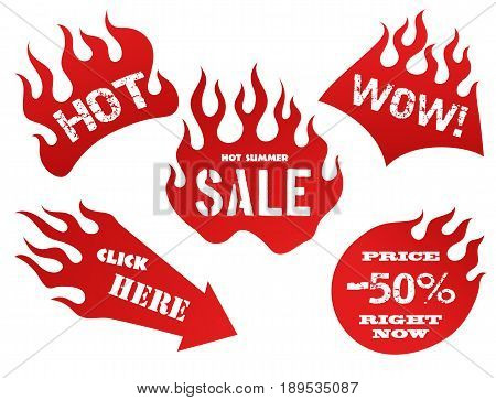 Red fire old school flame sale tag labels isolated vector illustration