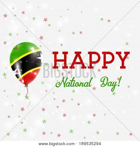 St. Kitts And Nevis National Day Patriotic Poster. Flying Rubber Balloon In Colors Of The Kittian An
