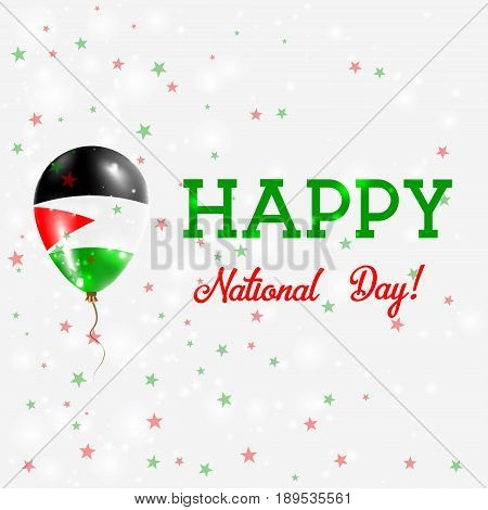 Palestine National Day Patriotic Poster. Flying Rubber Balloon In Colors Of The Palestinian Flag. Pa