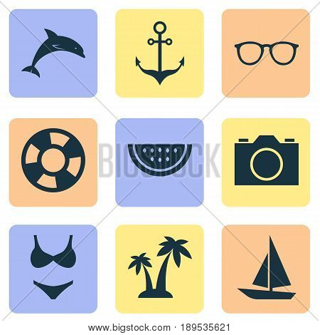 Icons Set. Collection Of Armature, Video, Spectacles And Other Elements. Also Includes Symbols Such As Camera, Sunglasses, Ship.