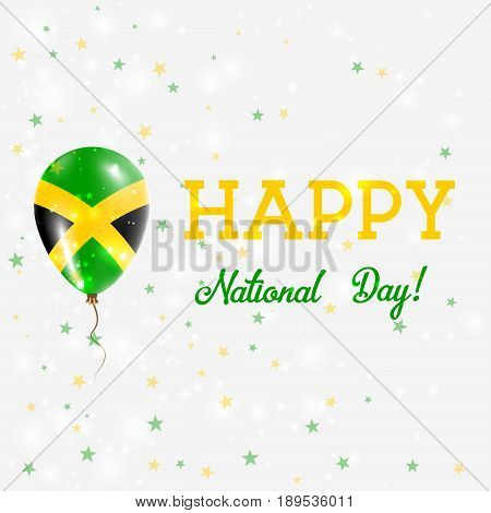 Jamaica National Day Patriotic Poster. Flying Rubber Balloon In Colors Of The Jamaican Flag. Jamaica