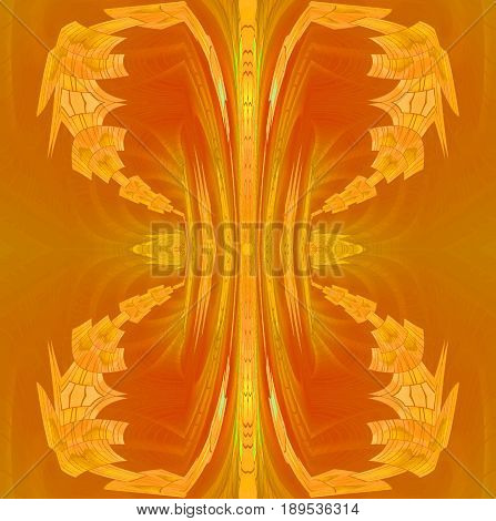 Abstract geometric background dimensional. Regular conspicuous ornament in yellow, orange, ocher and light brown shades.