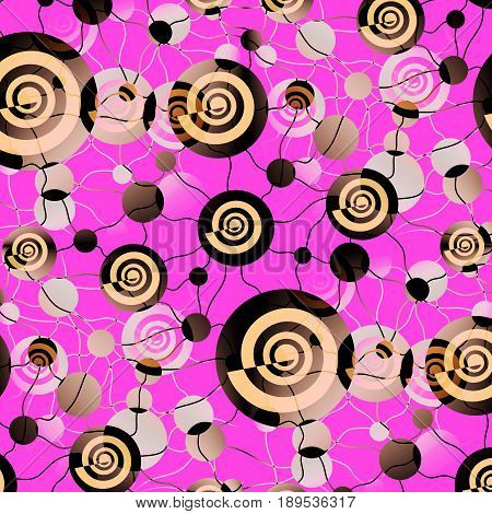 Abstract geometric background. Intricate irregular spirals and circles pattern peach color, brown and and gray shades and violet, connected with wavy lines.
