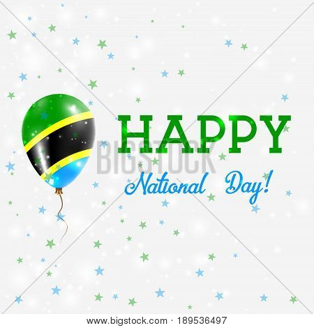 Tanzania National Day Patriotic Poster. Flying Rubber Balloon In Colors Of The Tanzanian Flag. Tanza