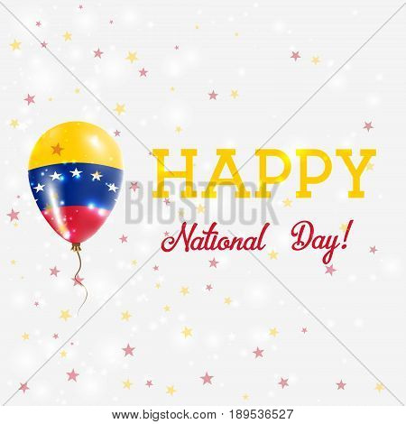 Venezuela National Day Patriotic Poster. Flying Rubber Balloon In Colors Of The Venezuelan Flag. Ven