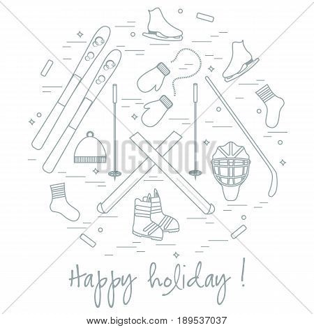 Vector Illustration Of Different Elements Of Sports Equipment And Clothing For Winter Sports Arrange