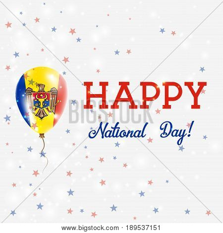 Moldova National Day Patriotic Poster. Flying Rubber Balloon In Colors Of The Moldovan Flag. Moldova
